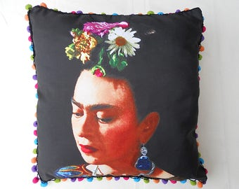 Frida Kahlo cushion on a black background
