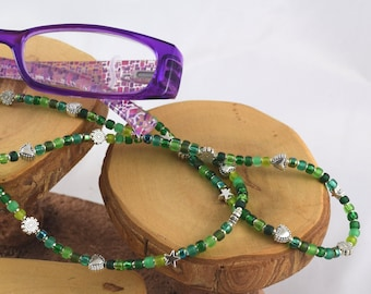 Electric Emerald brilliant green eyeglass sunglass handcrafted beaded chain never lose your glasses again!