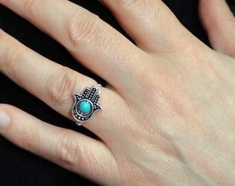 Hamsa ring, Silver hamsa turquoise ring, Hamsa jewelry, Hand of Fatima ring, Hamsa hand ring