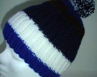 Custom Knit Striped  Hat with removable Pom Pom