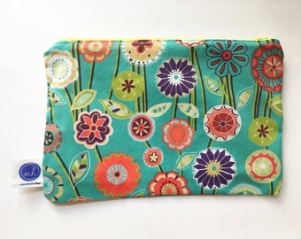Floral Print Blue Zipper Pouch (Yellow Zipper with Peach Floral Liner)