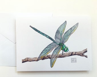 Set of 8 Dragonfly watercolor cards, includes envelopes,greeting cards, printed watercolor cards,blank greeting card,painting, house warming