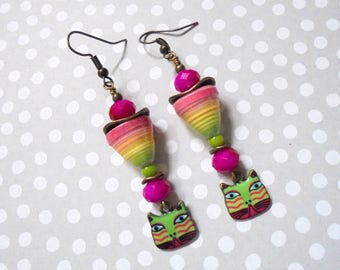 Hot Pink, Lime Green and Yellow Boho Cat Earrings (3781)