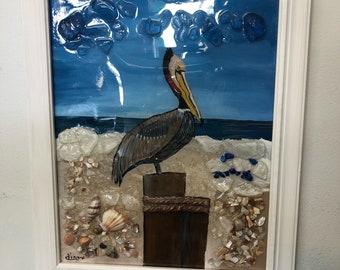 Glass art Crane, Crane on Beach, Resting Crane, Crane