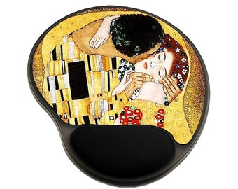 The Kiss Mouse Pad with Wrist Rest, Office Gift for Boss, Teacher, Mouse Pad Vintage Gold, Administrative Professionals Day Gifts
