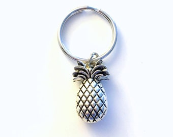 Pineapple Keychain, Pineapple Key Chain, Pine apple Charm Keyring Silver Food Jewelry Fruit Key Chain, Gift for conception Good luck TTC her