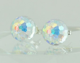 Irridescent Swarovski crystal post earrings, Small studs, 6mm round earrings, Aurora Borealis earrings on surgical steel post, Small posts