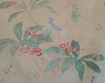 Hauntingly beautiful antique faded large scale climbing birds indienne fabric ~wonderful muted colours and design