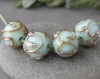 Handmade Lampwork Beads, 1 pc Glass Bead, Lampwork Beads, Floral Lampwork, Lampwork Glass Beads, Lampwork, Handmade Beads