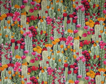 REMNANT--Colorful Packed Cactus Flowers Print Pure Cotton Fabric--1/2 yard