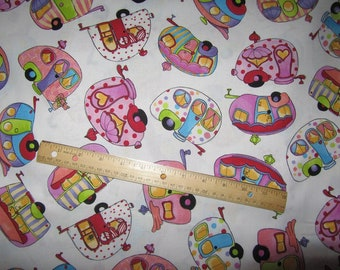 White with Girly Multicolored Campers Toss  Cotton Fabric by the Yard
