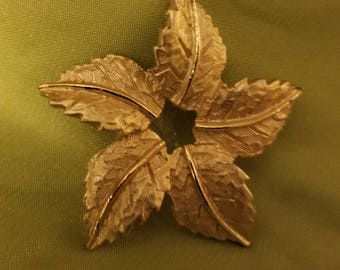 Lovely Leaf Brooch with Star Center