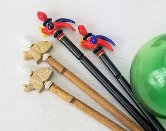 Pair of Hairsticks Vintage Bears or Birds - Choice of Animal