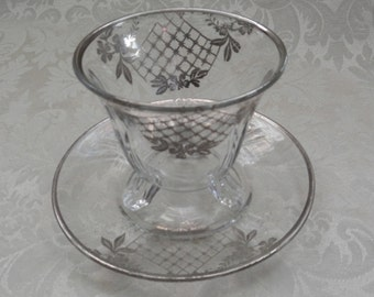 Lovely Art Deco Style Condiment Set with Sterling Overlay!