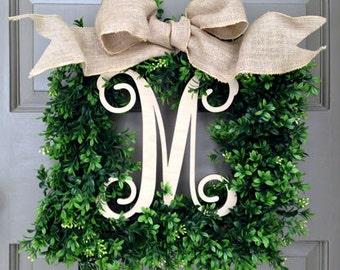 Monogram Square Faux Boxwood Wreath (1-Italics-Natural