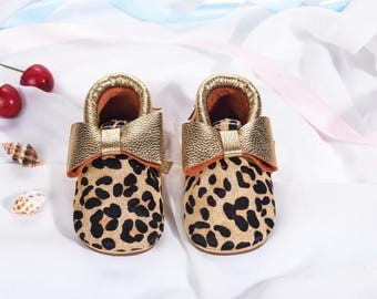 Pony Hair Leopard Print Baby Moccasins, Baby leather Shoes, Baby Moccs,baby shoes,baby gift,shoes,shoes, leather moccasins,Baby Moccasins