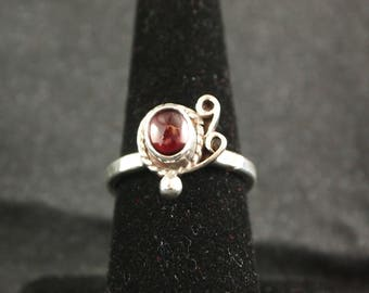 Garnet and Sterling Silver Ring Size 8
