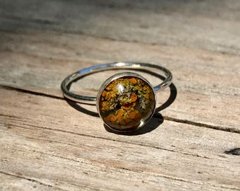 Lichen and resin sterling silver stacker ring size 5