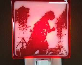 Godzilla Night Light Fused Glass