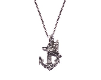 Jewelry for Men - Necklace - Silver Anchor necklace for men with white bronze swallow bird charm- silver necklace chain for men
