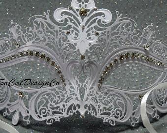 White Mask, Masquerade Masks Woman, Venetian Mask, Metal Mask, Masquerade Ball, Eye Mask, Mask, Mardi Gras Mask, Crystal Mask, Filigree Mask