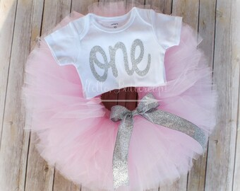 Silver first birthday bodysuit and Pink Tutu - Glitter Silver One outfit, Girls first birthday outfit, Cake smash photo prop, birthday shirt
