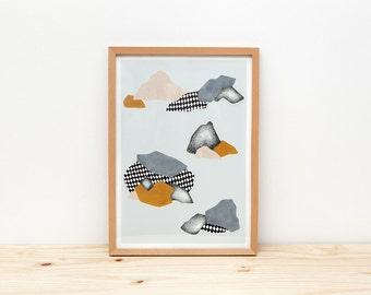 Rocas - print - 8 x 11.5 - A4 - by Depeapa