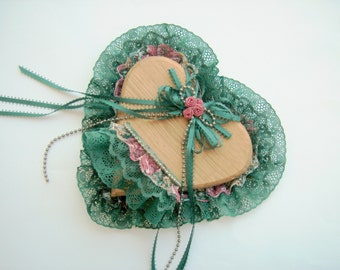 Vintage Wedding Heart Wood Teal Lace Ribbon Bead Trim HandMade in USA Vintage Collectible Shelf Decorative Wood Heart Hanging Shelf Handmade