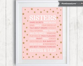 Pink and Gold Sisters Quote Art Personalized Canvas or Print Star Bedroom Decor Choose ANY Colors Wall Art Gold Glitter Blush Pink Mint