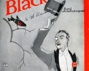 Bye Bye Blackbird, 1926 vintage sheet music by Mort Dixon and Ray Henderson, FIRST EDITION with Ukulele Arrangement, Operatic Edition