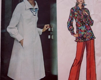 Vogue 2828 Couturier Designer Sewing Pattern, 1970s Sybil Connolly Dress, Tunic,Pants, Bust 34 UNCUT