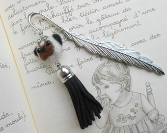 Silver bookmark, head of dog in felted wool and black tassel.