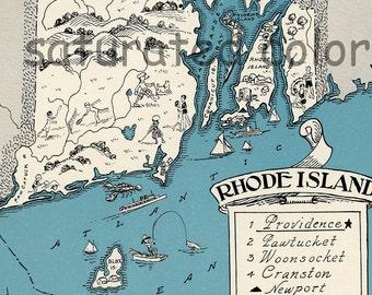 Rhode Island Map 1931 ORIGINAL Vintage Picture Map - Antique Map - Charming Teal Aqua - Newport - Prudence Island - Conanicut - Johst USA