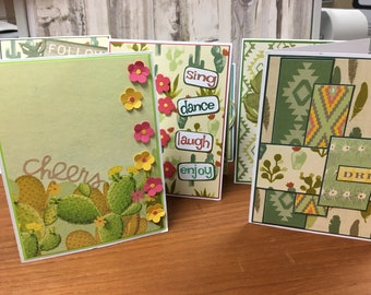 Set of 6 Handmade Southwestern themed Greetings Cards