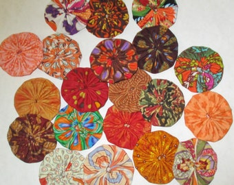 "Fabric YoYos, Orange And Rust Prints, 2"" Size, Appliques, Embellishments, Quilting"