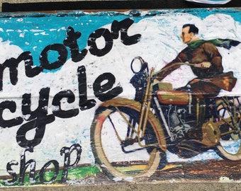 Motor Cycle Shop, harley davidson sign, vintage motorcycle sign, vintage look wood sign, motorcycles, harley shop sign  vintage, bike,