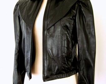 80s LEATHER RACER Jacket / 1980s Black Leather Jacket / Feminine Puff Sleeve MOTO Jacket