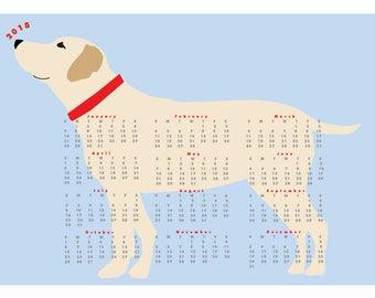 2018 Yellow Lab Dog Calendar wall calendar poster 13 x 19 inches