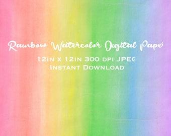 Rainbow Watercolor Digital Paper Package Paint Splatter Clipart