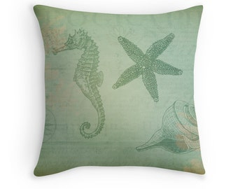 Seahorse Pillow, Seashells Home Decor, Sea Horse Cushion, Beach Decor, Beach Cushion, Shell Throw Pillow, Ocean Decor, Sea Star, Shell Decor