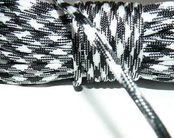 Rope, rope paracord 550, black and white rope, Paracord 4 mm 7 strand by the yard