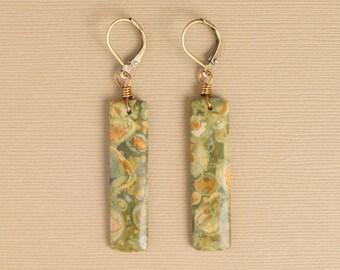 Gemstone Earrings-Rainforest Rhyolite Long Drops-Rainforest Rhyolite Earrings