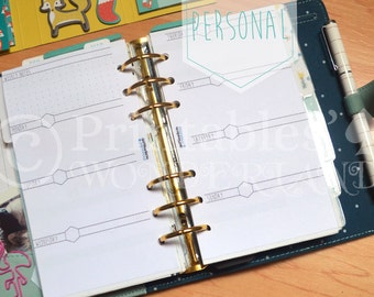 Printable weekly planner inserts undated personal, week on 2 pages horizontal layout, fits any personal size planner (filofax, kikki k, ...)