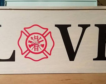 Wall Plaque with Love letters and Fire Dept Logo