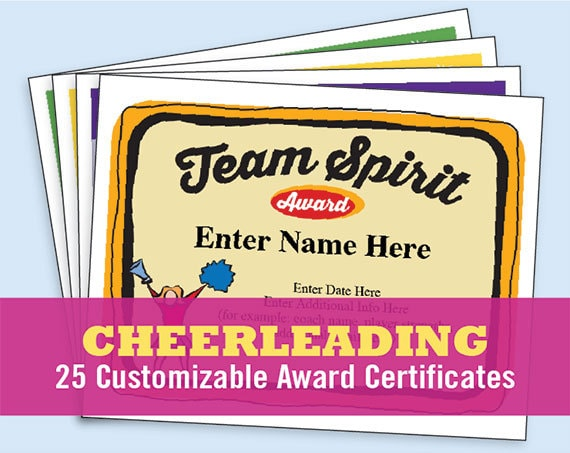 Cheerleading certificate cheerleader awards cheer team cheerleading certificate cheerleader awards cheer team printables child girls certificates coach gifts templates etsy top sellers yadclub Image collections