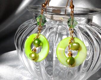 Pearl Earrings, pearls and Crystal