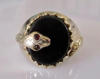 Large 9ct Gold Garnet Signet Snake Ring