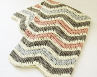Blanket CROCHET PATTERN - Chevron Baby Blanket - newborn baby Afghan baby shower gift baby crochet pattern