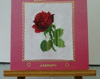 Embroidered moms Red Rose card