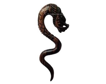 1 x Ebony Wood Dragon Ear Spiral Orangic Plug Stretched Ear Weight